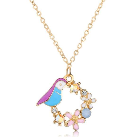 Jewelry - Multicolor Bird Flower Ornament Pendant Necklace